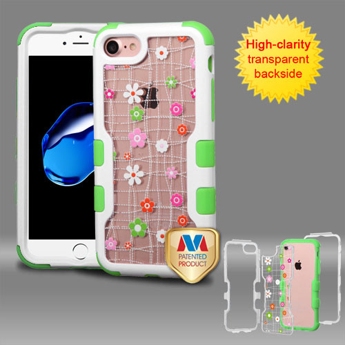 MyBat TUFF Vivid Hybrid Protector Cover for Apple iPhone 8/7 - Natural Ivory White Frame+Transparent Tiny Blossoms PC Back / Electric Green