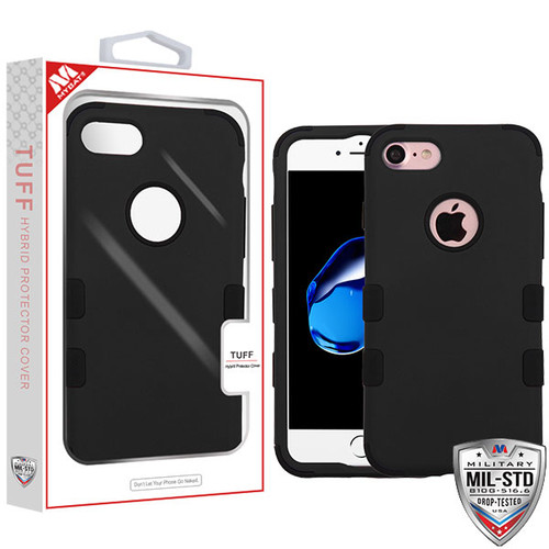 MyBat TUFF Hybrid Protector Cover [Military-Grade Certified] for Apple iPhone 8/7 - Rubberized Black / Black