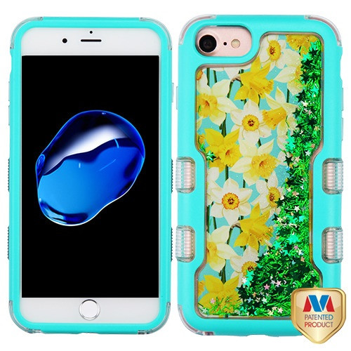 MyBat TUFF Quicksand Glitter Hybrid Protector Cover for Apple iPhone 8/7 - Natural Teal Green / Spring Daffodils & Green Meteor Shower