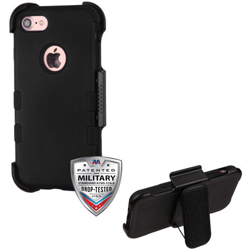 MyBat TUFF Hybrid Protector Case [Military-Grade Certified](with Black Horizontal Holster) for Apple iPhone 8/7 - Rubberized Black / Black
