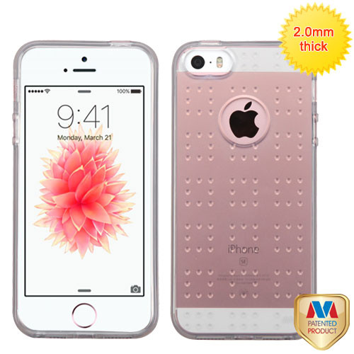 MyBat SPOTS Candy Skin Cover for Apple iPhone SE - Glassy Transparent Gray