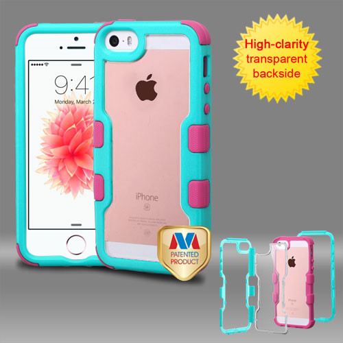 MyBat TUFF Vivid Hybrid Protector Cover for Apple iPhone SE - Natural Teal Green Frame+Transparent PC Back / Electric Pink