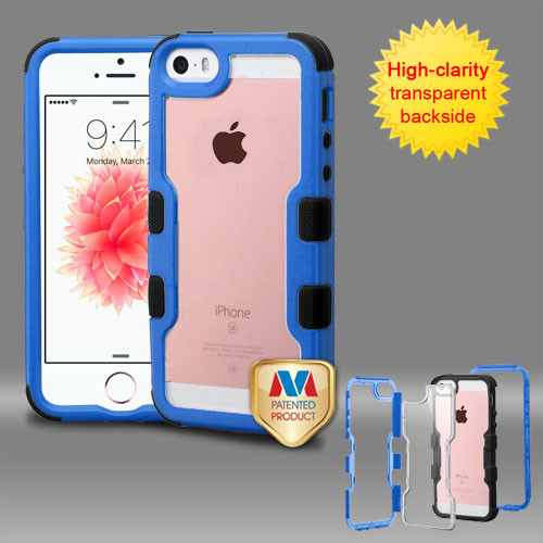 MyBat TUFF Vivid Hybrid Protector Cover for Apple iPhone SE - Natural Dark Blue Frame+Transparent PC Back / Black