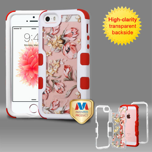 MyBat TUFF Vivid Hybrid Protector Cover for Apple iPhone SE - Natural Ivory White Frame+Transparent Painted Flowers PC Back / Red