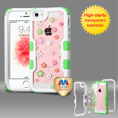 MyBat TUFF Vivid Hybrid Protector Cover for Apple iPhone SE - Natural Ivory White Frame+Transparent Tiny Blossoms PC Back / Electric Green