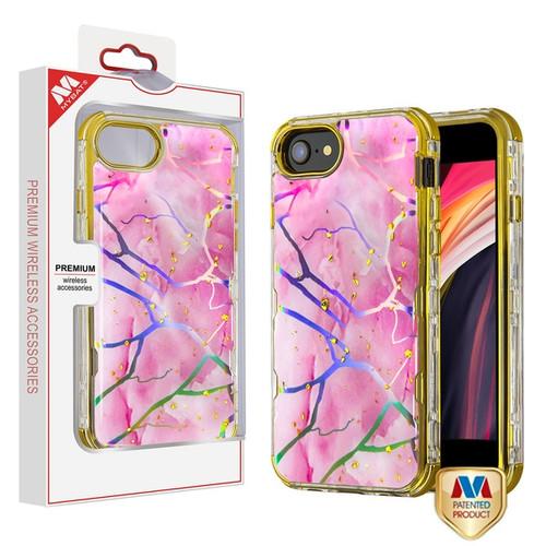 MyBat TUFF Kleer Hybrid Case for Apple iPhone SE (2020) - Pink Marbling / Electroplating Gold