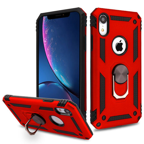 MyBat Anti-Drop Hybrid Protector Cover (with Ring Stand) for Apple iPhone XR - Red / Black