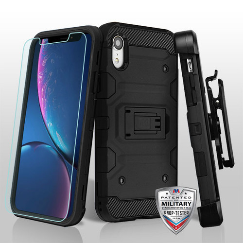 MyBat 3-in-1 Storm Tank Hybrid Protector Cover Combo (with Black Holster)(Tempered Glass Screen Protector)[Military-Grade Certified] for Apple iPhone XR - Black / Black