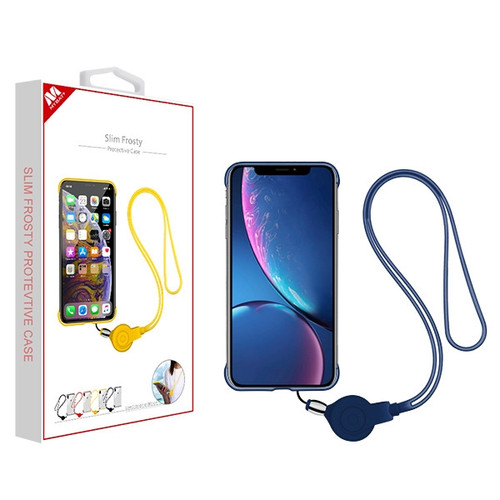 MyBat Slim Frosty Protective Case (with Ink Blue Lanyard) for Apple iPhone XR - Semi Transparent White Frosted / Ink Blue