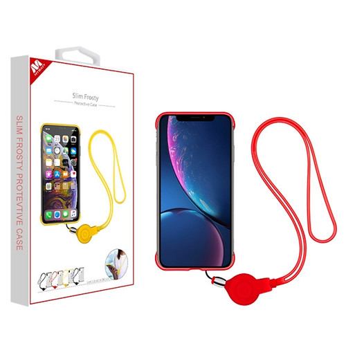 MyBat Slim Frosty Protective Case (with Red Lanyard) for Apple iPhone XR - Semi Transparent White Frosted / Red