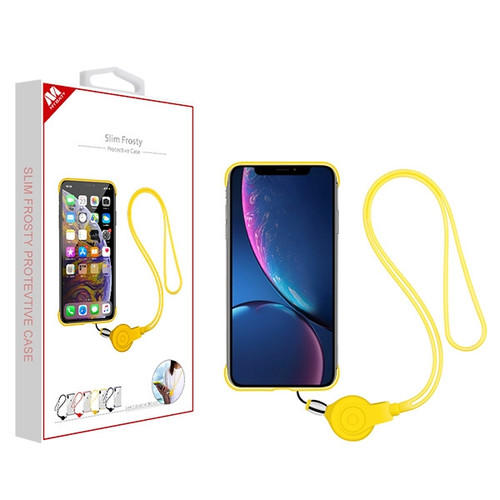 MyBat Slim Frosty Protective Case (with Yellow Lanyard) for Apple iPhone XR - Semi Transparent White Frosted / Yellow