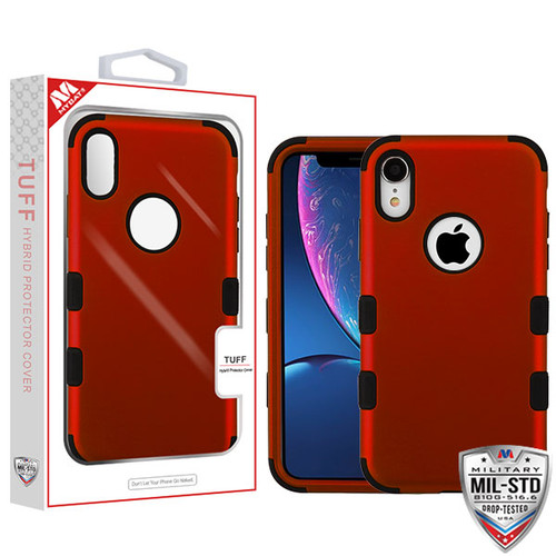 MyBat TUFF Hybrid Protector Cover [Military-Grade Certified] for Apple iPhone XR - Titanium Red / Black