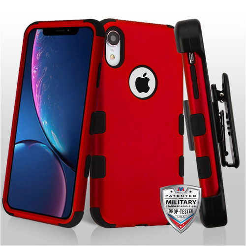 MyBat TUFF Hybrid Protector Case [Military-Grade Certified](with Black Horizontal Holster) for Apple iPhone XR - Titanium Red / Black