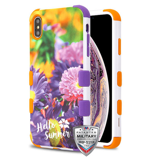 MyBat TUFF Hybrid Protector Cover [Military-Grade Certified] for Apple iPhone XS Max - Chrysanthemum Field / Orange and Purple