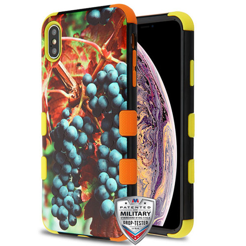 MyBat TUFF Hybrid Protector Cover [Military-Grade Certified] for Apple iPhone XS Max - Grape Harvest / Yellow and Orange
