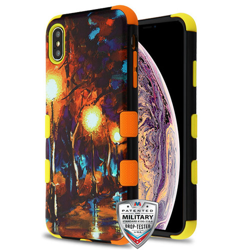MyBat TUFF Hybrid Protector Cover [Military-Grade Certified] for Apple iPhone XS Max - Rainy Night / Yellow and Orange