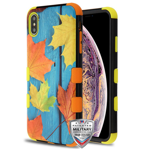 MyBat TUFF Hybrid Protector Cover [Military-Grade Certified] for Apple iPhone XS Max - Scattered Leaves / Yellow and Orange