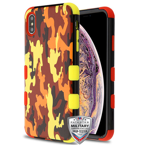 MyBat TUFF Hybrid Protector Cover [Military-Grade Certified] for Apple iPhone XS Max - Fall Camouflage / Red and Yellow