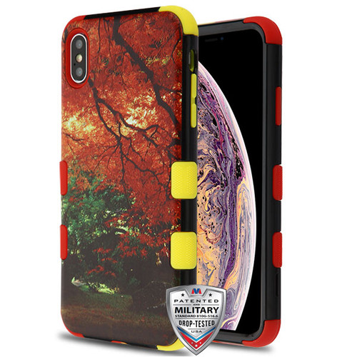 MyBat TUFF Hybrid Protector Cover [Military-Grade Certified] for Apple iPhone XS Max - Fall Foliage / Red and Yellow
