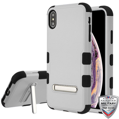 MyBat TUFF Hybrid Protector Cover (with Magnetic Metal Stand)[Military-Grade Certified] for Apple iPhone XS Max - Natural Gray / Black