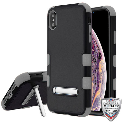MyBat TUFF Hybrid Protector Cover (with Magnetic Metal Stand)[Military-Grade Certified] for Apple iPhone XS Max - Natural Black / Iron Gray