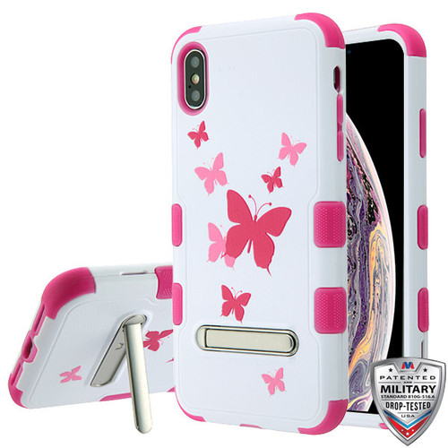 MyBat TUFF Hybrid Protector Cover (with Magnetic Metal Stand)[Military-Grade Certified] for Apple iPhone XS Max - Butterfly Dancing / Hot Pink