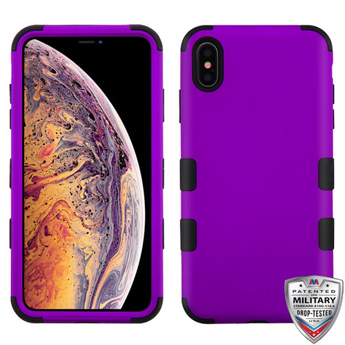 MyBat TUFF Hybrid Protector Cover [Military-Grade Certified] for Apple iPhone XS Max - Rubberized Grape / Black
