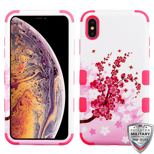 MyBat TUFF Hybrid Protector Cover [Military-Grade Certified] for Apple iPhone XS Max - Spring Flowers / Electric Pink