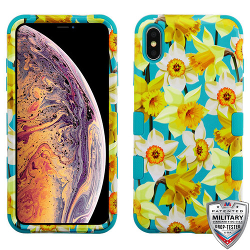 MyBat TUFF Hybrid Protector Cover [Military-Grade Certified] for Apple iPhone XS Max - Spring Daffodils / Tropical Teal