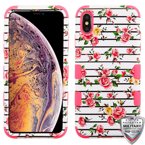 MyBat TUFF Hybrid Protector Cover [Military-Grade Certified] for Apple iPhone XS Max - Pink Fresh Roses / Electric Pink