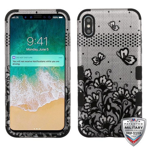 MyBat TUFF Hybrid Protector Cover [Military-Grade Certified] for Apple iPhone XS Max - Black Lace Flowers (2D Silver) / Black