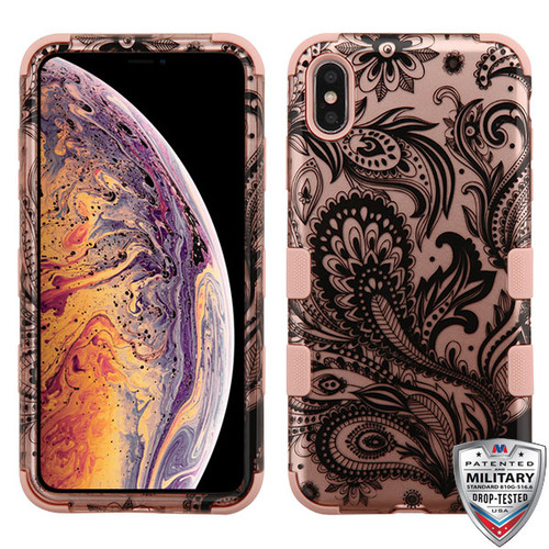 MyBat TUFF Hybrid Protector Cover [Military-Grade Certified] for Apple iPhone XS Max - Phoenix Flower (2D Rose Gold) / Rose Gold