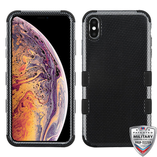 MyBat TUFF Hybrid Protector Cover [Military-Grade Certified] for Apple iPhone XS Max - Carbon Fiber / Black