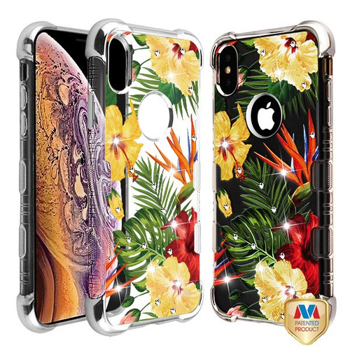 MyBat Diamante TUFF Klarity Lux Candy Skin Cover for Apple iPhone XS Max - Silver Plating / Hibiscus