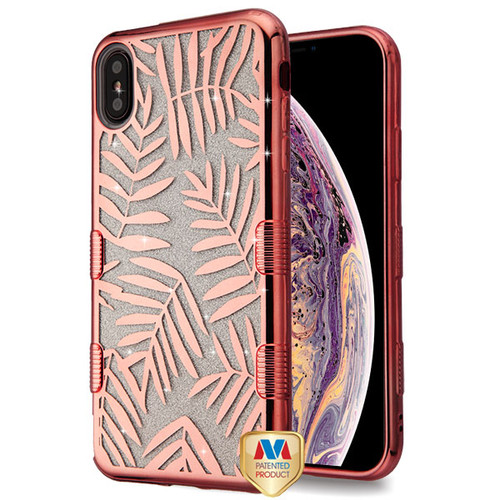 MyBat Full Glitter TUFF Hybrid Protector Cover for Apple iPhone XS Max - Electroplating Rose Gold Dancing Palm Leaves (Transparent Clear)