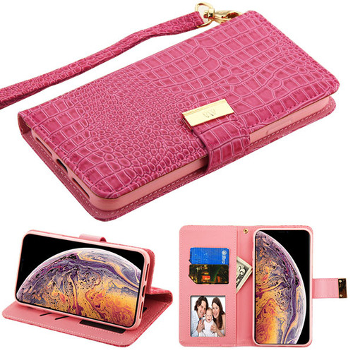 MyBat Crocodile - Embossed  MyJacket Wallet for Apple iPhone XS Max - Hot Pink