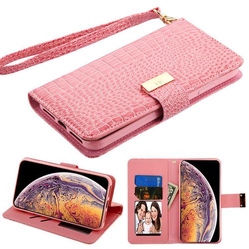 MyBat Crocodile - Embossed  MyJacket Wallet for Apple iPhone XS Max - Pink