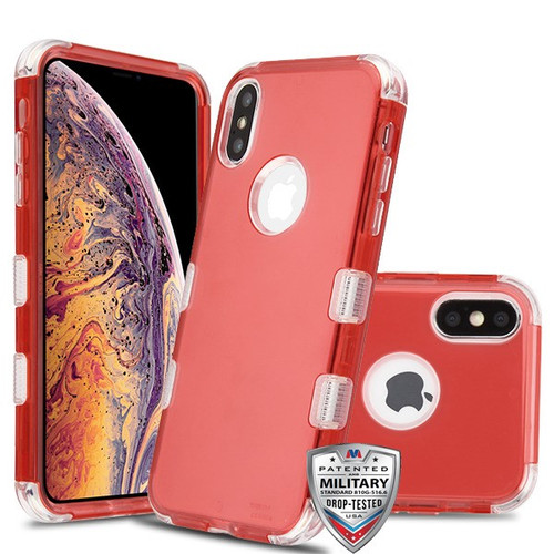 MyBat TUFF Lucid Hybrid Protector Cover [Military-Grade Certified] for Apple iPhone XS Max - Transparent Red / Transparent Clear