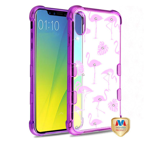 MyBat TUFF Klarity Candy Skin Cover (with Package) for Apple iPhone XS Max - Purple Plating & Flamingo Land Diamante