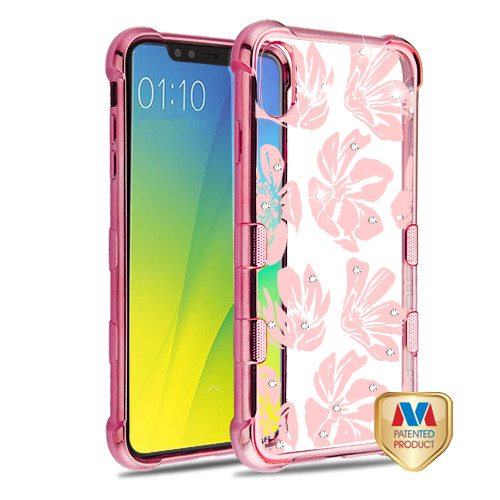 MyBat TUFF Klarity Candy Skin Cover (with Package) for Apple iPhone XS Max - Rose Gold Plating & Magnolia Garden Diamante