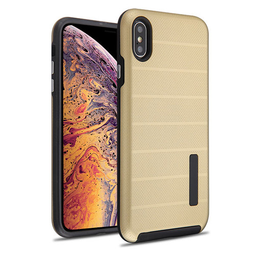 MyBat Fusion Protector Cover for Apple iPhone XS Max - Gold Dots TextuGold / Black