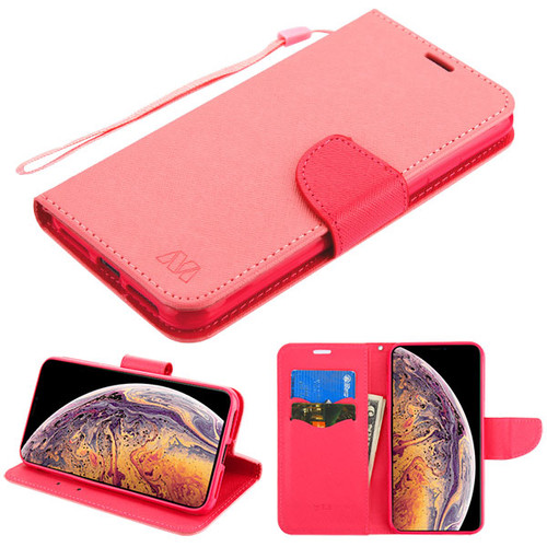 MyBat Liner MyJacket Wallet Crossgrain Series for Apple iPhone XS Max - Pink Pattern / Hot Pink