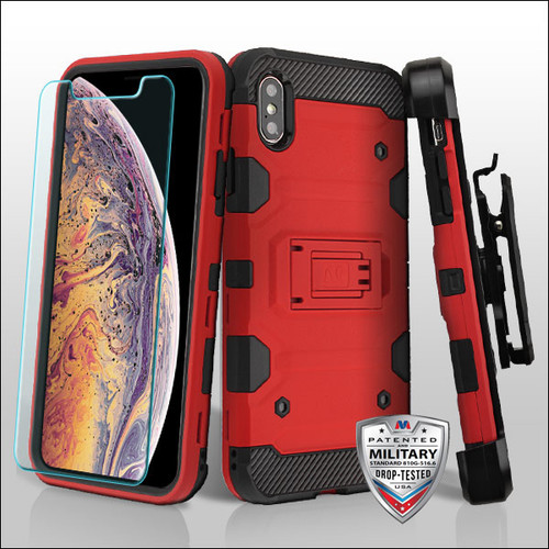 MyBat 3-in-1 Storm Tank Hybrid Protector Cover Combo (with Black Holster)(Tempered Glass Screen Protector)[Military-Grade Certified] for Apple iPhone XS Max - Red / Black