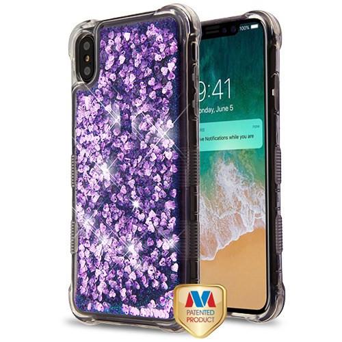 MyBat TUFF Quicksand Glitter Lite Hybrid Protector Cover for Apple iPhone XS Max - Purple Hearts