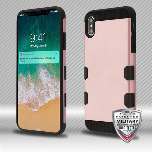MyBat TUFF Trooper Hybrid Protector Cover [Military-Grade Certified] for Apple iPhone XS Max - Rose Gold / Black