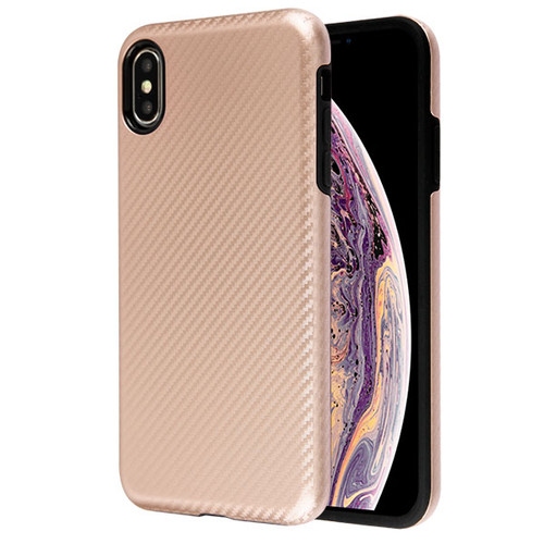 MyBat Fuse Hybrid Protector Cover for Apple iPhone XS Max - Rose Gold Carbon Fiber Texture / Black