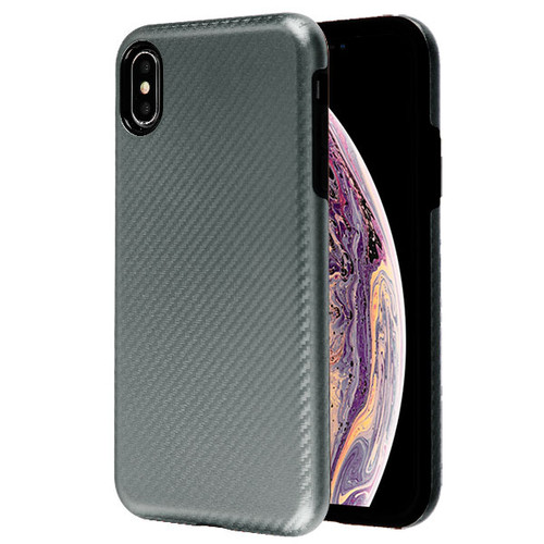 MyBat Fuse Hybrid Protector Cover for Apple iPhone XS Max - Dark Gray Carbon Fiber Texture / Black