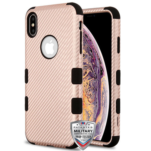 MyBat TUFF Fuse Hybrid Protector Cover for Apple iPhone XS Max - Rose Gold Carbon Fiber Texture / Black