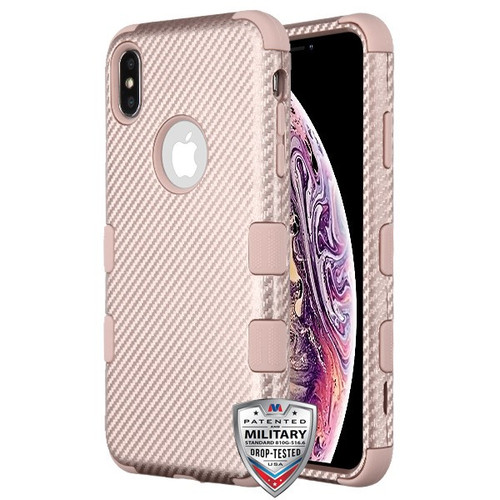 MyBat TUFF Fuse Hybrid Protector Cover for Apple iPhone XS Max - Rose Gold Carbon Fiber Texture / Rose Gold