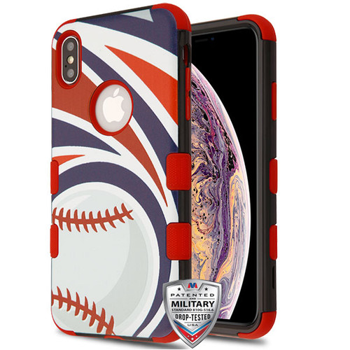 MyBat TUFF Hybrid Protector Cover [Military-Grade Certified] for Apple iPhone XS Max - Home Run / Red